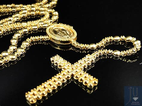 gold rosary mens 10k yellow gold rosary canary chain necklace