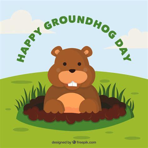 groundhog day happy day happy groundhog day background vector free