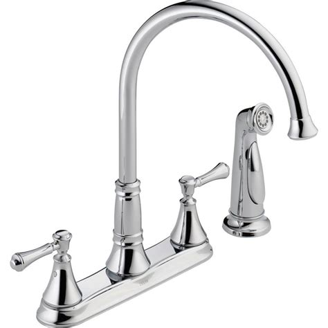 delta kitchen faucets installation delta cassidy 2 handle standard kitchen faucet with side sprayer in chrome 2497lf the home depot