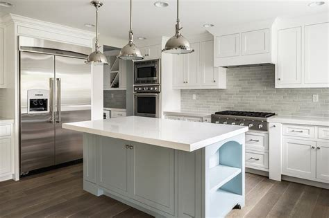 grey and white kitchen cabinets white kitchen cabinets with gray brick tile backsplash