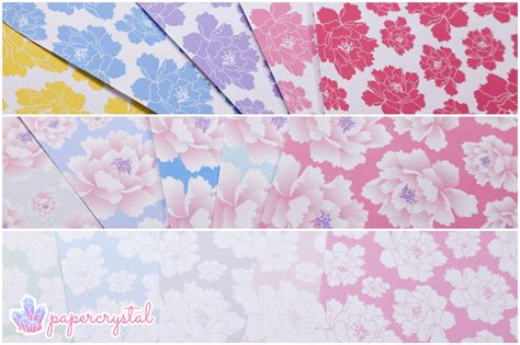 printable origami paper patterns free origami paper peony pattern paper kawaii