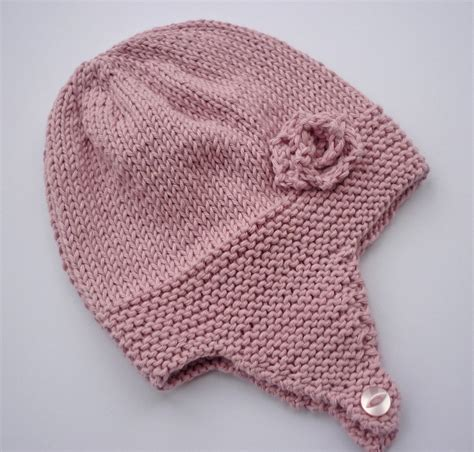 free knit baby hat patterns knitting pattern baby earflap hat with flower by