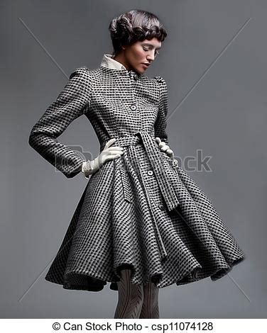 Victorian Style Home Plans stock photo of fashion model lovely brunette in retro