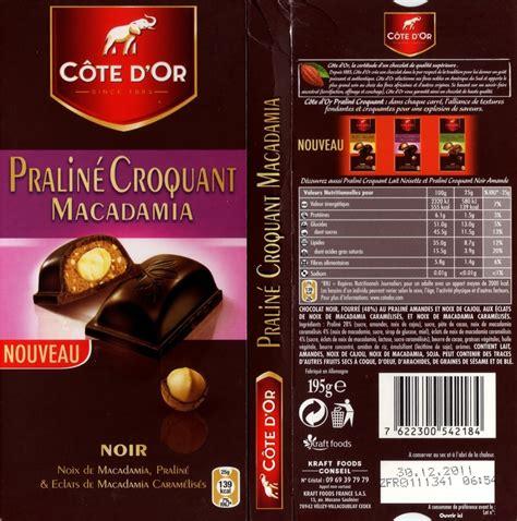 tablette de chocolat noir gourmand c 244 te d or noir pralin 233 croquant macadamia c 244 te d or
