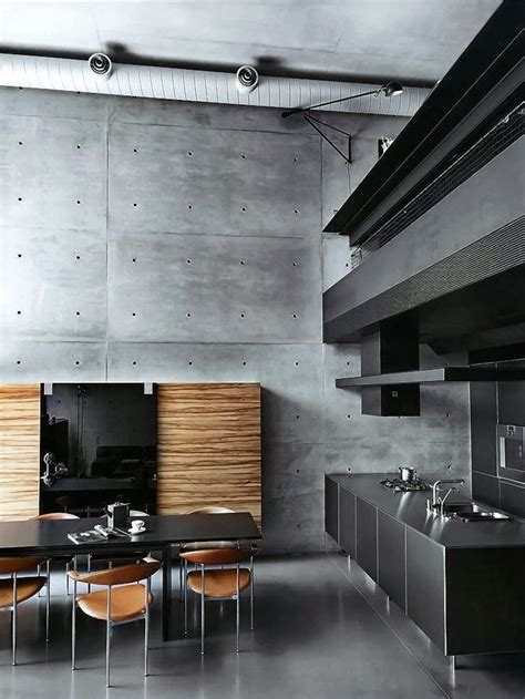 concrete kitchen design concrete accent wall interior design ideas