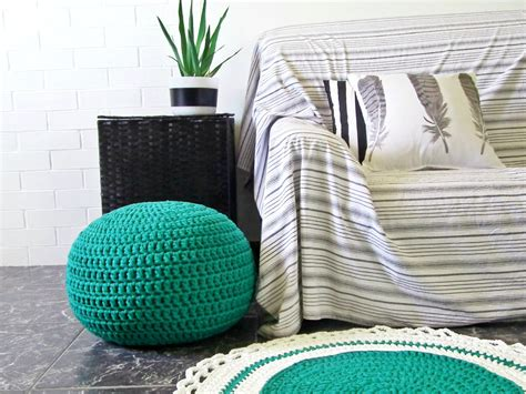 teal knitted pouf teal jade pouf ottoman footstool knit floor pillow
