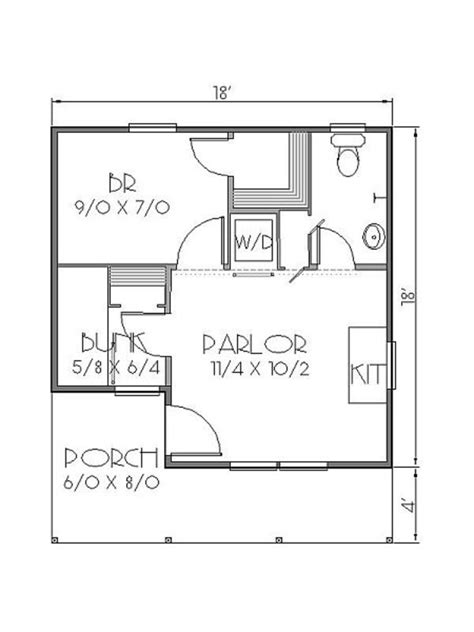 10 X 20 Cabin Floor Plan cottage style house plan 2 beds 1 baths 300 sq ft plan