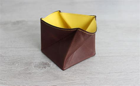 origami coin purse origami leather coin purse row brown and yellow leather