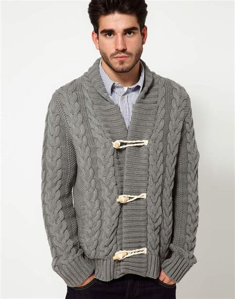 grey shawl neck cable knit cardigan pepe cardigan shawl collar cable knit in gray for