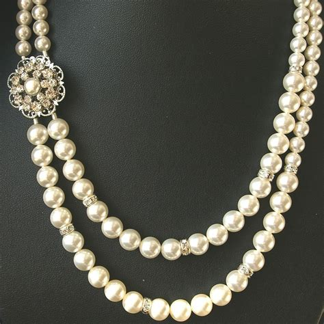 pearl jewelry pearl bridal necklace vintage wedding jewelry by
