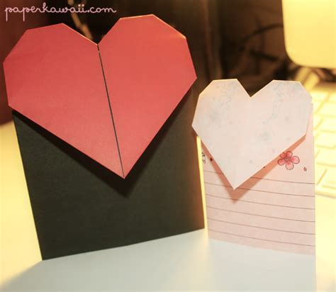 origami valentines card origami valentines day card tutorial paper kawaii