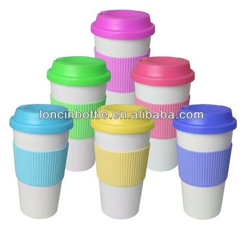 coffee cup rubber st 12oz wall ceramic cup with silicone lid and sleeve