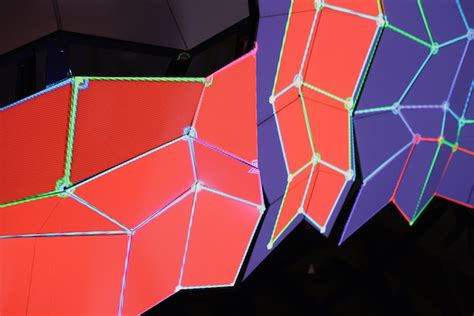 origami screen a light show folds in on an origami projection screen