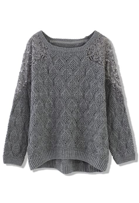 gray knit sweater grey knit sweater with lace shoulder frio
