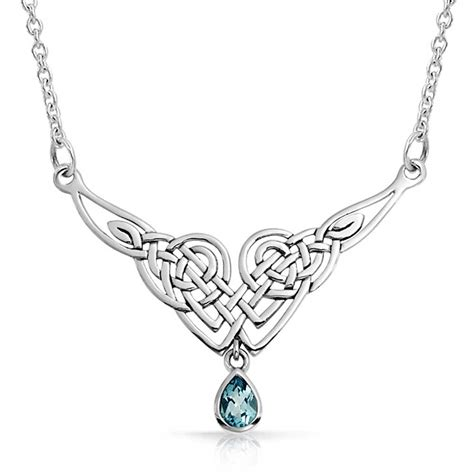 how to make celtic knot jewelry sterling silver blue topaz celtic knot teadrop necklace