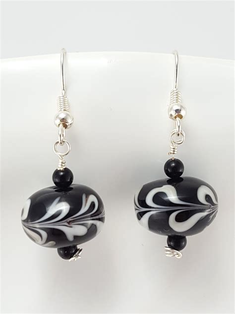 glass jewelry black and white lwork glass earrings extraversions