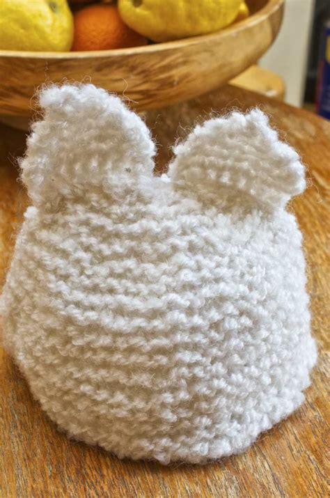 knitted kits beginner knitting kit baby hat with ears white