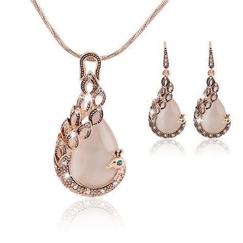 jewelry sets 18k real gold plated opal peacock jewelry sets wedding