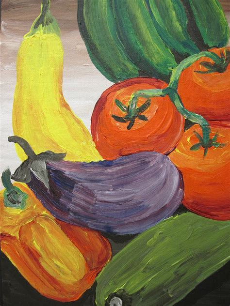 acrylic painting vegetables still with vegetables painting by suzanne buckland