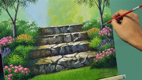 painting lessons flowers acrylic landscape painting lesson stairway to flower