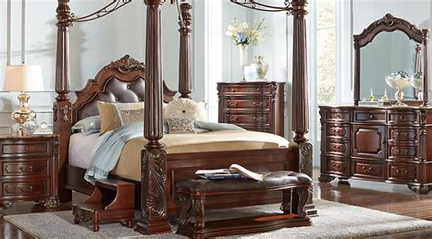 king size canopy bedroom sets southton walnut 6 pc king canopy bedroom bedroom sets