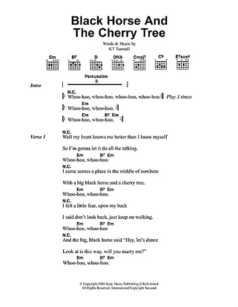 black and the cherry tree sheet by kt tunstall lyrics chords 46665