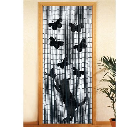 rideau de porte bambou chat et papillon