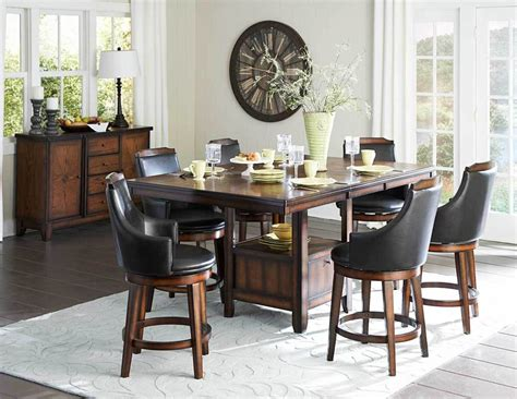 pub dining room set counter height burnished dining table swivel pub chairs diningroom furniture set ebay