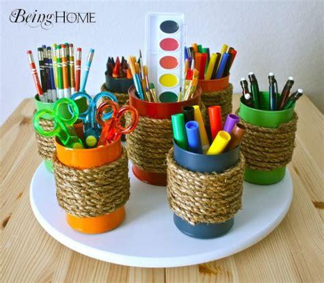 creative craft projects ideia de organizador de material escolar reciclagem