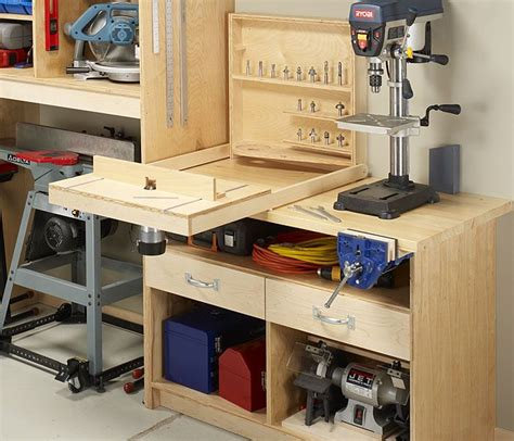 woodworking space router bit holder with flip router table and