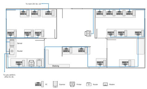 How To Draw A Floor Plan On The Computer network layout floor plans solution conceptdraw com