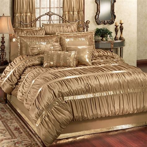 comforter bed splendor shirred faux silk gold comforter bedding