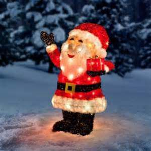 lighted santa outdoor decorations tinsel lighted santa