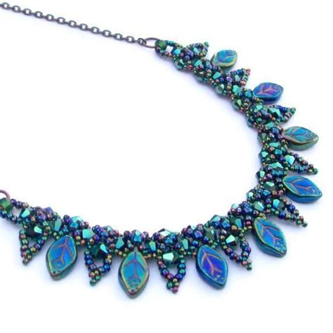 how to make bead jewelry patterns beaded leaf collar necklace by hollybird craftsy