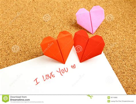 origami message origami paper hearts with message royalty free stock photo