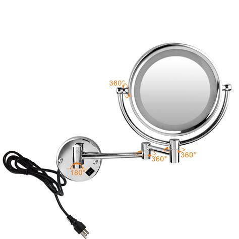 wall mounted magnifying mirrors for bathrooms led lighted 8 5inch wall mounted 10x magnifying bathroom