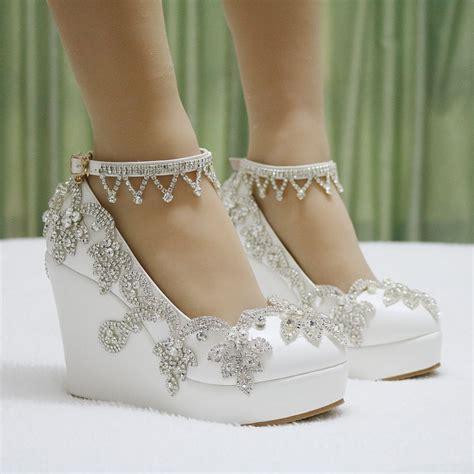 beaded wedding wedges aliexpress buy fashion rhinestone wedges pumps heels
