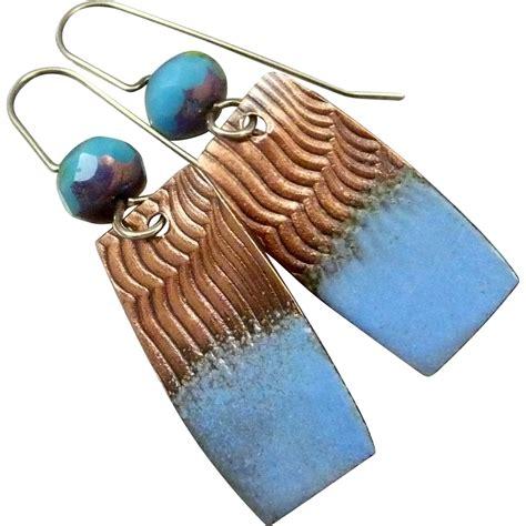 how to make copper enamel jewelry copper enamel earrings from rubylane sold on ruby