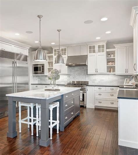 white kitchen islands white marble kitchen with grey island house ideas