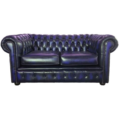 blue leather chesterfield sofa chesterfield antique blue genuine leather two seater sofa