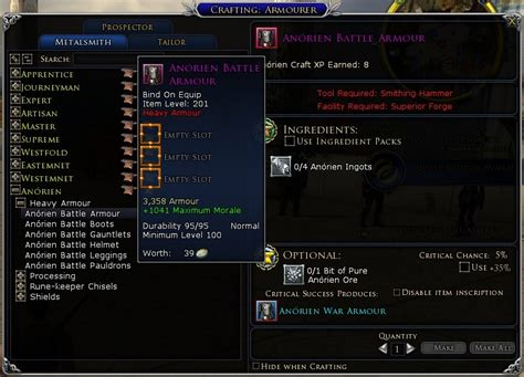 Lotro Woodworker Recipes Legendary
