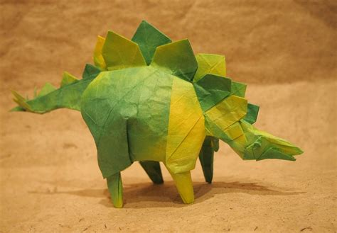 origami stegosaurus this week in origami rabbit coming out the side of a
