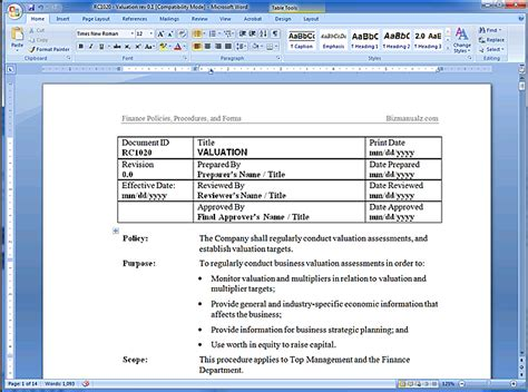 financial policy manual
