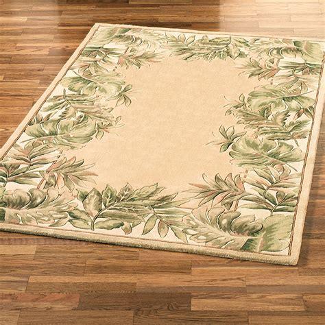 tropical area rugs tropical leaves border area rug