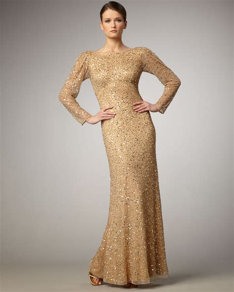 gold beaded gowns aidan mattox beaded sleeve low back gown in gold