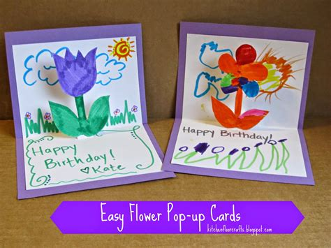 how to make a flower pop up card kitchen floor crafts easy flower pop up cards
