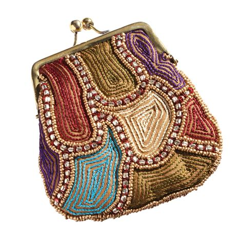 beaded coin purse s embroidered lock beaded coin purse multi