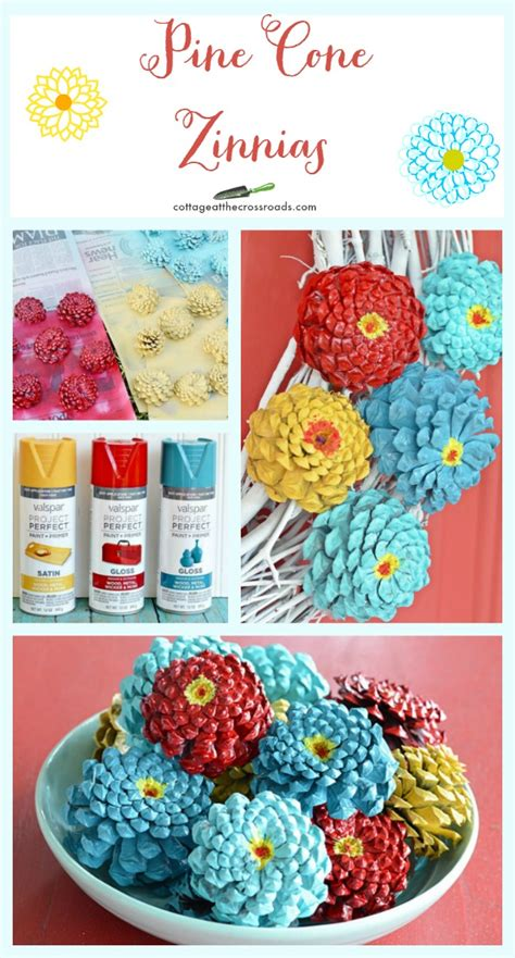 pine cone crafts to sell how to make pine cone zinnias cottage at the crossroads