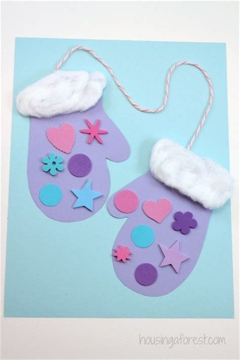 easy winter crafts winter mitten craft for preschoolers housing a forest