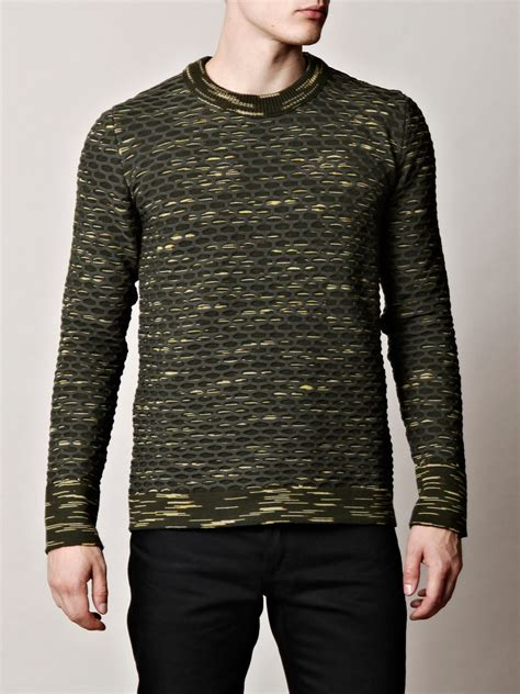 camo knit sweater balenciaga camo honeycomb knit sweater in green for